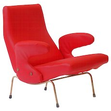 """Red """"Delfino"""" armchair by Erberto Carboni, Arflex 1954"""