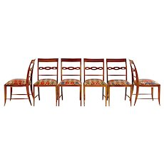 Set of Six Paolo Buffa Sculptural Dining Chairs, circa 1940
