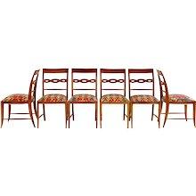 Set of Six Paolo Buffa Sculptural Dining Chairs, circa 1940