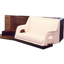 Important Room Divider Bookcase white a Sofa by Dassi, circa 1940