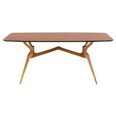 Sculptural blonde dining table attr. Ico Parisi,1950