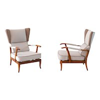 Interesting pair of reclining wingback armchairs by Paolo Buffa,1940