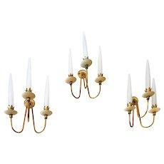 Set of Three Angelo Lelli Wall Lights,by Arredoluce,1950