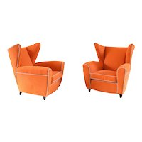 Pair of Large Attributed to Melchiorre Bega Wingback Armchairs, 1952