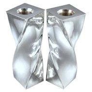 "Antonio Pineda Candlesticks 6 1/2"" Tall ~ Sterling Silver ~ Vintage Modernism"