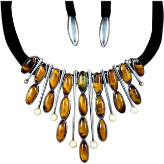 Antonio Pineda Necklace Tigers's Eye, Pearl, Silver