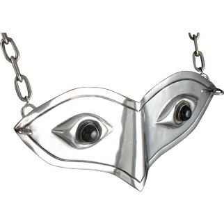 Hubert Harmon Mask Pendant or Belt Buckle Silver & Onyx