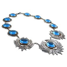 LOS CASTILLO NECKLACE BLUE COBALT GLASS