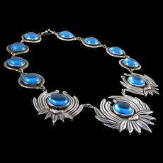 LOS CASTILLO NECKLACE BLUE COBALT GLASS