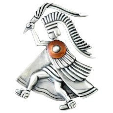 Los Castillo Aztec Warrior Torch Bearer Pin