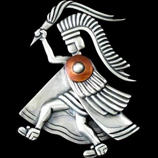 Los Castillo Aztec Warrior Torch Bearer Pin