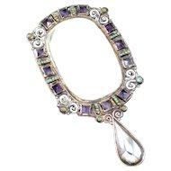 """6"""" MATL Matilde Poulat Hand Mirror 1950's"""