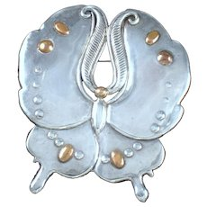 William Spratling Silver & Bronze Butterfly Pin - Museum Piece
