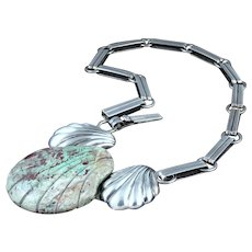 William Spratling Necklace Turquoise Seashell & Sterling Silver
