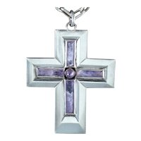 1940's William Spratling Amethyst and Sterling Silver Cross Necklace