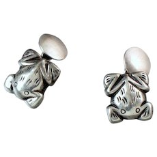 "William Spratling Frog Cufflinks Vintage 1940""s"
