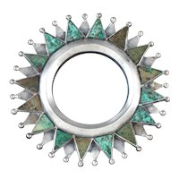 William Spratling Pendant & Pin Silver & Chrysocolla