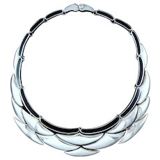 ANTONIO PINEDA MODERNIST ONYX CRESCENT NECKLACE