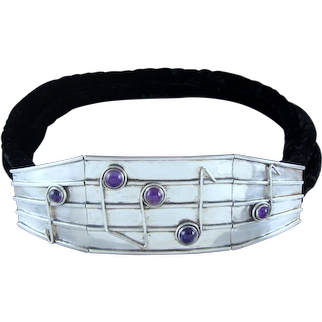 Antonio Pineda Belt Silver Amethyst Velvet