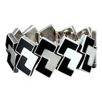 Antonio Pineda Geometric Bracelet Onyx & 970 Sterling Silver