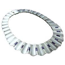 ANTONIO PINEDA Amethyst & 970 Silver Modernist Necklace