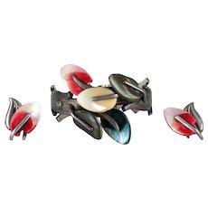 ANTONIO Pineda Vintage Abalone & Sterling Silver Bracelet & Earrings