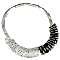 Antonio Pineda Necklace 970 Sterling Silver & Obsidian