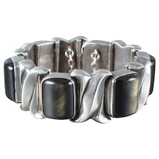 Antonio Pineda Obsidian & 970 Sterling Silver Bracelet