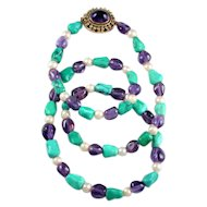 Carmen Beckmann Necklace ~ Turquoise, Amethyst & Pearl~ 14 K Clasp