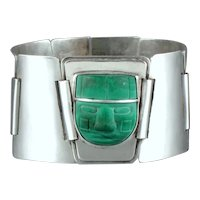 Fred Davis 1930's Malachite and Sterling Silver Bracelet
