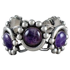 Fred Davis Deco Bracelet Amethyst & Sterling Silver