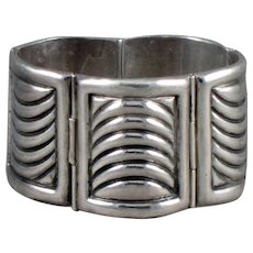 FRED DAVIS Art Deco Panel Sterling Silver Bracelet