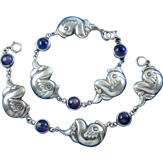Pair ~ Hubert Harmon Sterling Silver & Amethyst Bracelets 1940's