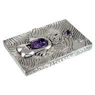 Hubert Harmon Box Sterling Silver & Amethyst
