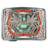 MATL Matilde Poulat Buckle Silver, Turquoise & Coral