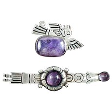 William Spratling Silver & Amethyst Pins