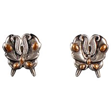 William Spratling Moth Earrings Silver & Bronze
