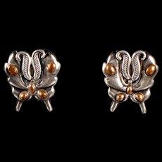 William Spratling Moth Earrings Silver & Bronze