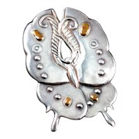 William Spratling Moth Brooch Sterling Silver & Bronze