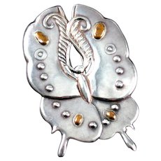 William Spratling Moth Brooch Sterling Silver & Bronze