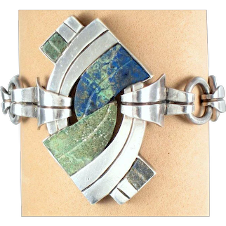 William Spratling Bracelet ~ Vintage 1940's Sterling Silver & Stone