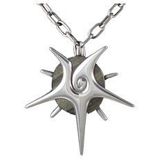 William Spratling Starfish Obsidian & Silver Pendant & Pin 1950's
