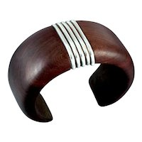 William Spratling Rosewood & Sterling Silver Bracelet