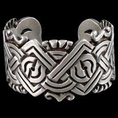 William Spratling Aztec Sterling Silver Cuff Bracelet Vintage 1940's