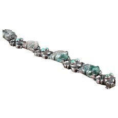 William Spratling Frog Bracelet Silver,  Jade, & Turquoise