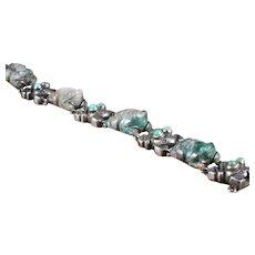 William Spratling Frog Bracelet Silver,  Jade, & Turquoise