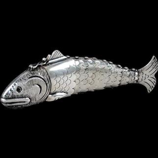 William Spratling Keepsake Fish Box Sterling Silver & Onyx