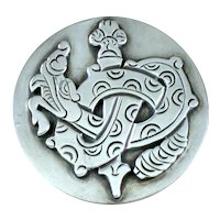 William Spratling Queztalcoatl  Sterling Silver Brooch