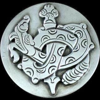 William Spratling Queztalcoatl  Sterling Silver Brooch