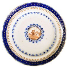 Chinese Export Porcelain Plate made for the American Market, Circa 1785.